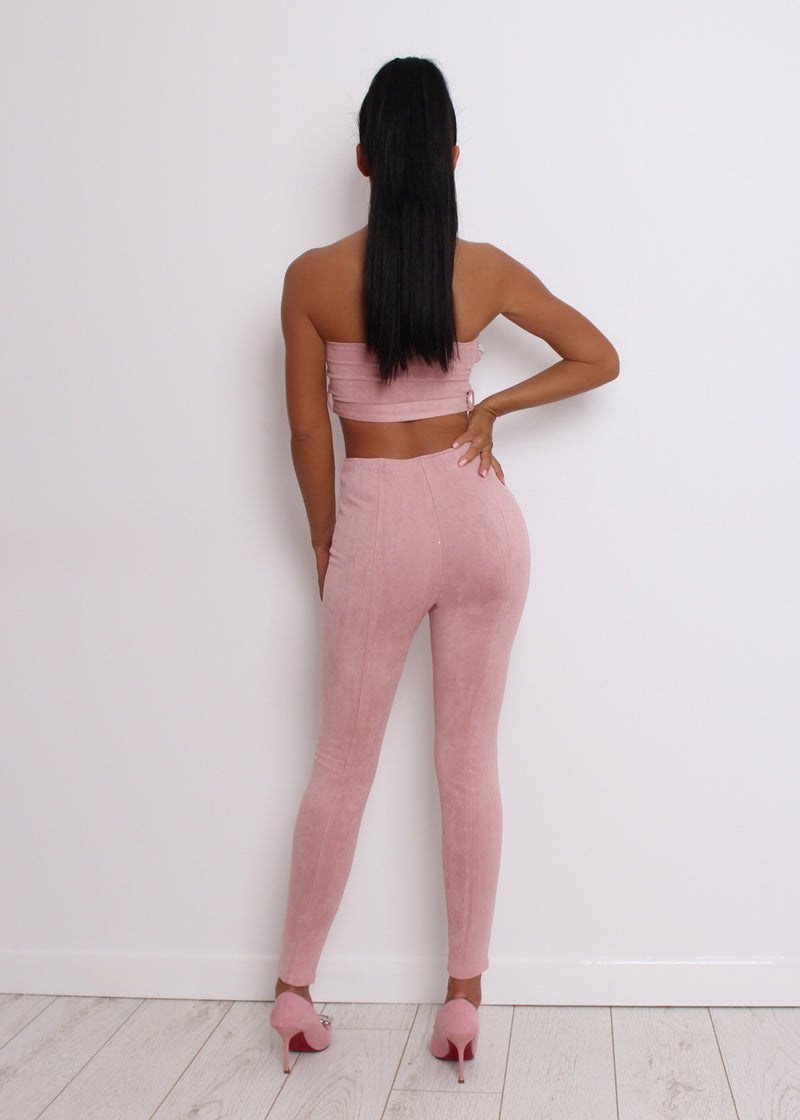'All About You' Suede Two Piece - Pink M