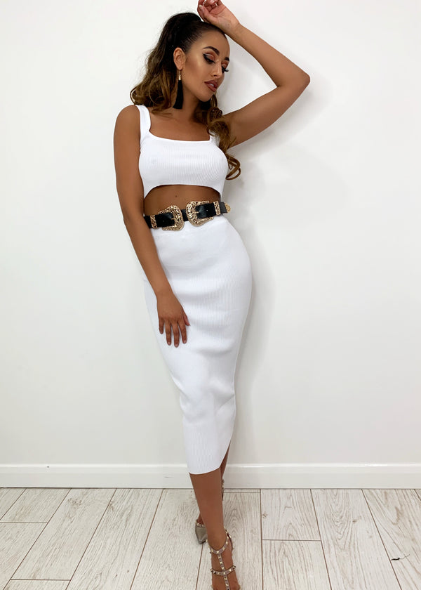 London Chic Premium Ribbed Two Piece - White