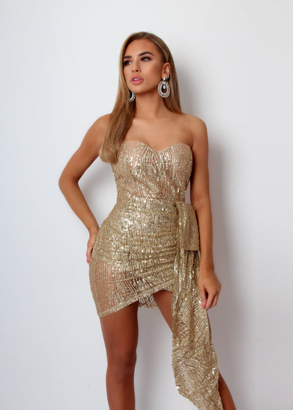 Lavish Me Glitter Mesh Dress - Gold