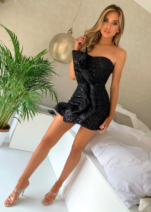 Sweet And Sassy Ruffle Sequin Dress - Black