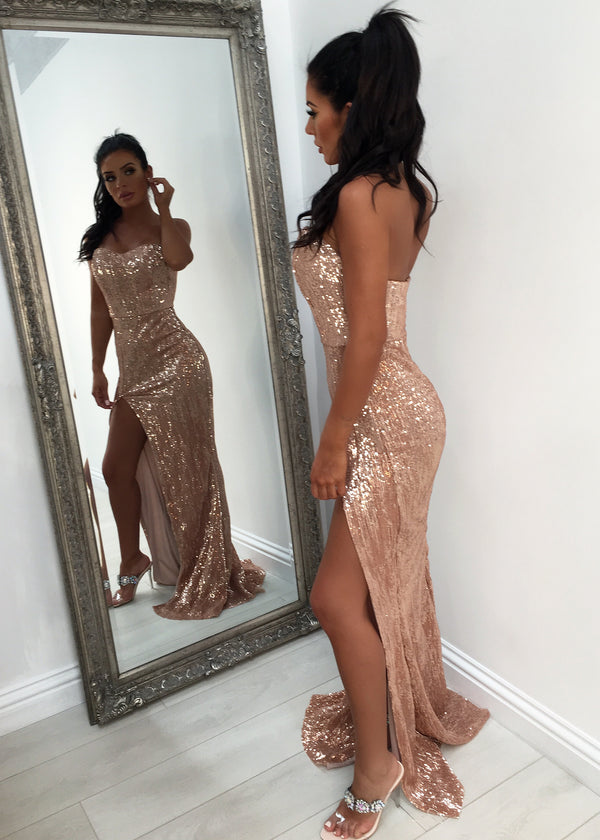 'Fifth Avenue' Bustier Sequin Gown with Side Slit - Rose Gold XS