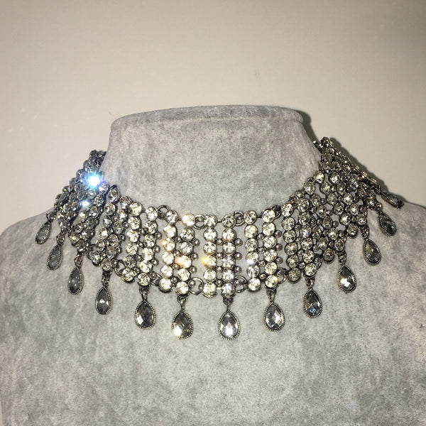 Crystal Choker - Six Row with Pendants