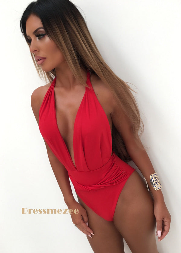 Rita Swimsuit with Front Twist Detail - Red