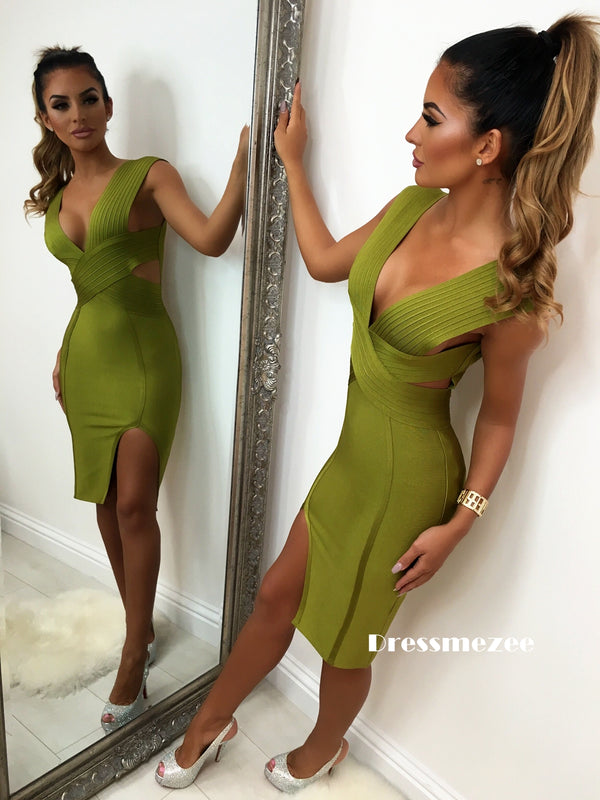 'Lady Luxe' Bandage Dress - Khaki