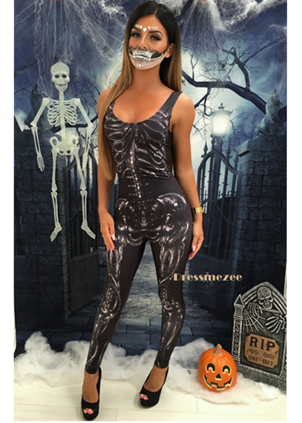 'Evil Queen' Unitard - Black Skeleton