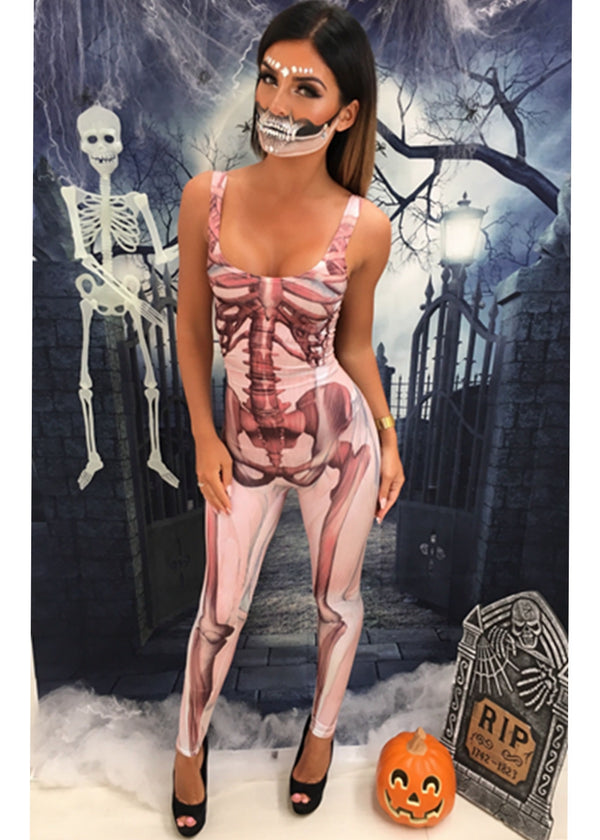 'Evil Queen' Unitard - Pink Skeleton