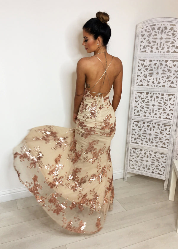 Serendipity Sequin Maxi Dress - Nude