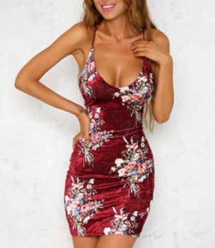 Red Velvet Dress with Floral Print