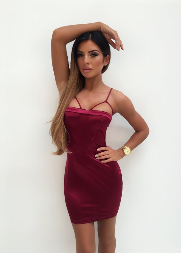 'League of Your Own' Stretchy Satin Dress - Burgandy