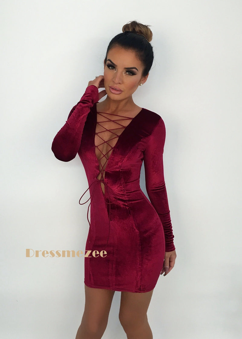 'Sweet  Cherry' Velvet Lace Up Dress L XL