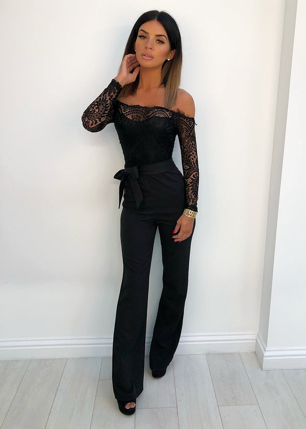 'Abigail' Lace Jumpsuit - Black