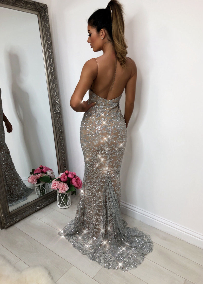 'Notting Hill' Glitter Gown - Silver