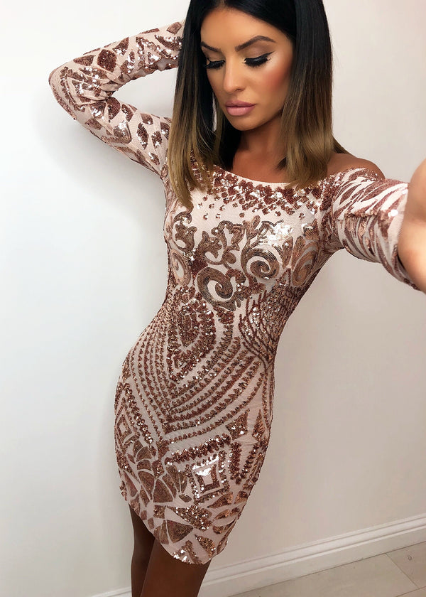 'Stella' Sequin Dress - Rose Gold