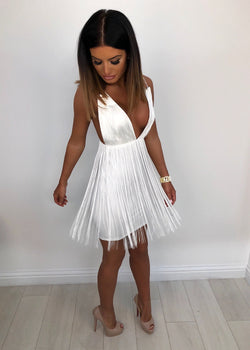 'Natasha' Fringe Dress - White
