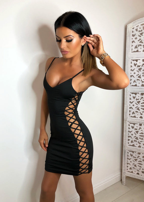'Get Attached' Lace Up Bodycon Dress - Black