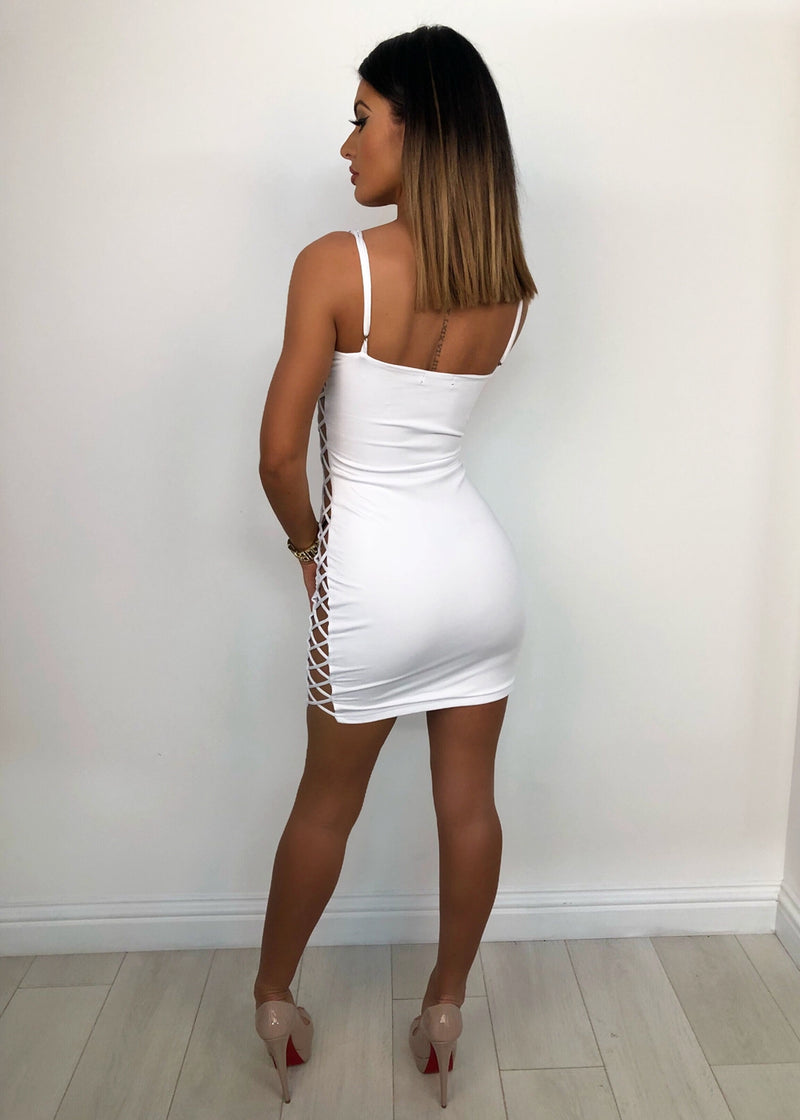 'Get Attached' Lace Up Bodycon Dress - White