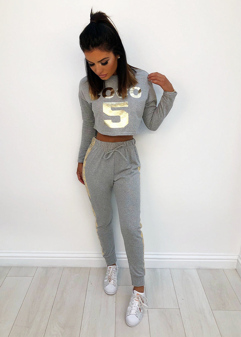 Kayla Cropped Lounge Set - Grey