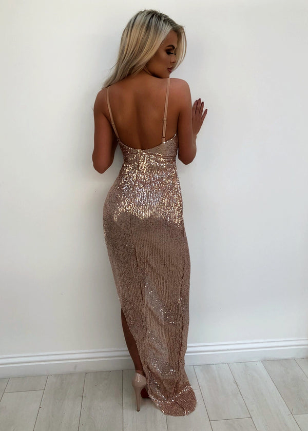 'Make A Wish' Side Slit Sequin Gown - Rose Gold XS S L