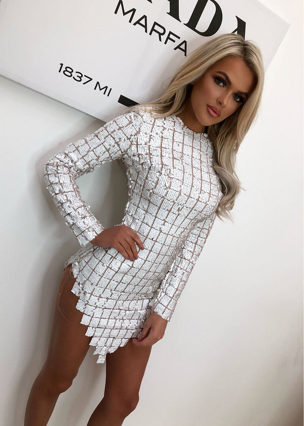 'Born to be Glam' Glitter Dress - White