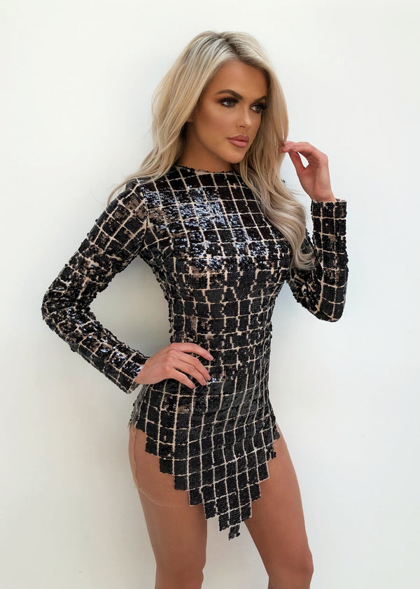 'Born to be Glam' Glitter Dress - Black L