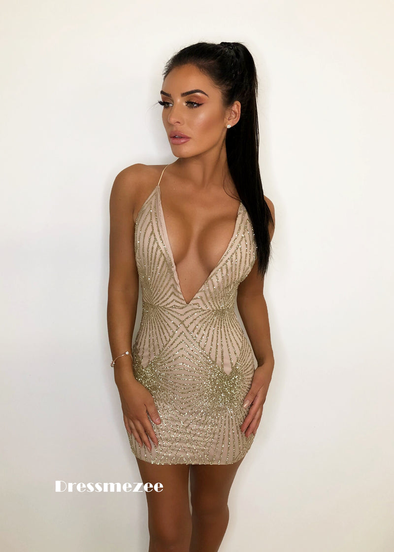 'Isabella' Glitter Plunge Dress - Gold