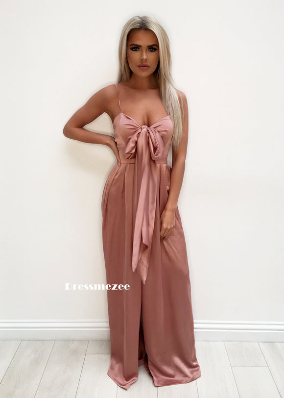 'Kensington' Satin Jumpsuit - Blush XS