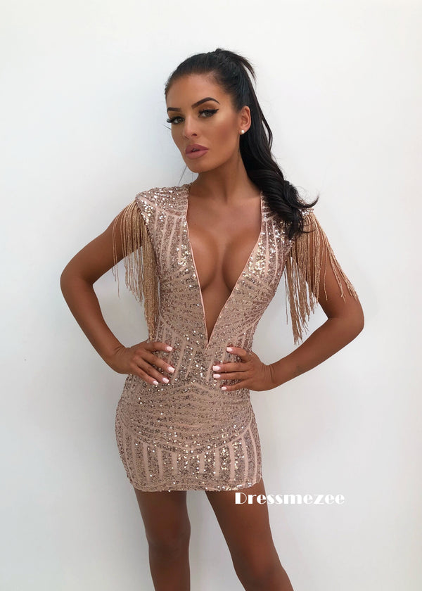 'Let it Sparkle' Sequin Dress - Rose Gold 12 14