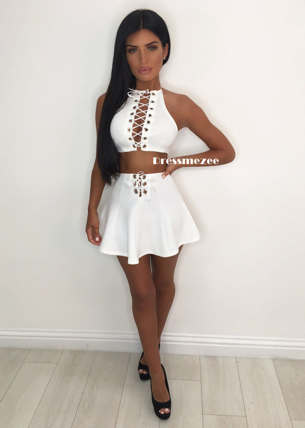 'Power Frills' Two Piece - White L