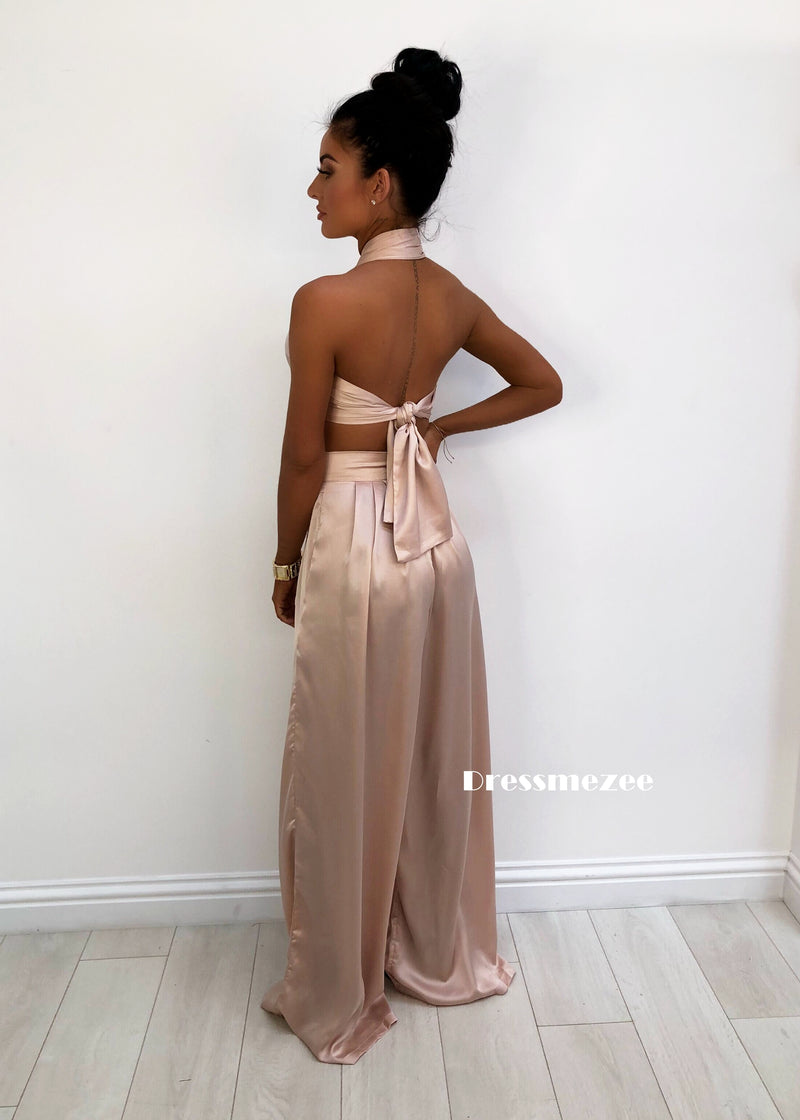 'Turn Up The Heat' Satin Two Piece - Nude
