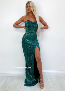 'Fifth Avenue' Bustier Sequin Gown with Side Slit - Emerald Green S