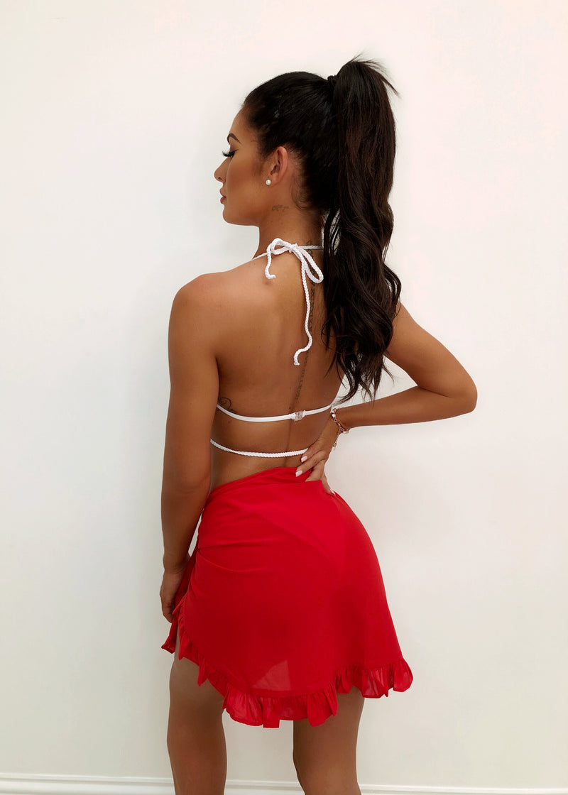 Leia Frilled Short Sarong - Red