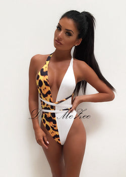 Love Liberty Monochrome Swimsuit - Black & Yellow Cheetah