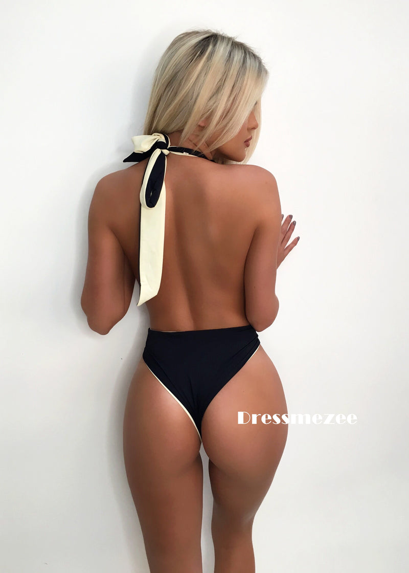 Welcome to Miami Reversible Cut Out High Rise Swimsuit - Black & Beige XL