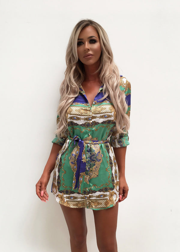 Lonely Hearts Print Shirt Dress