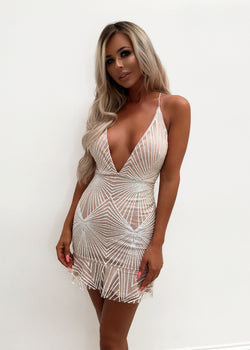 Katrina Frilled Glitter Plunge Dress - White