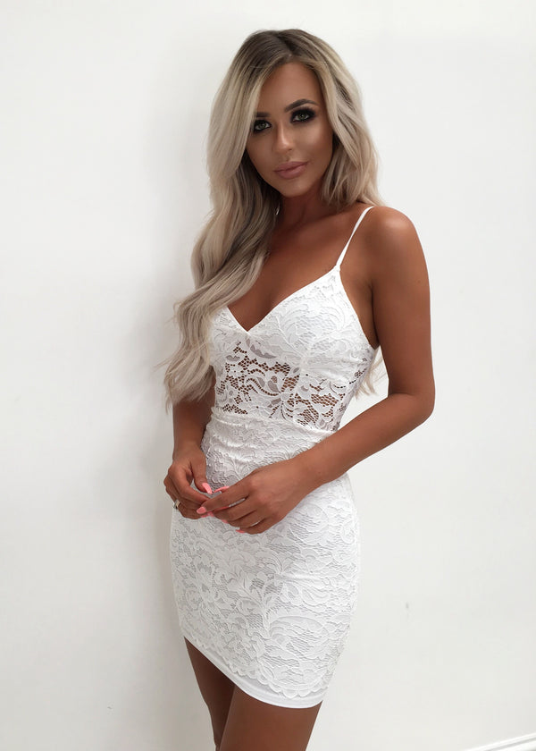 Jelena Lace Bodycon Mini Dress - White