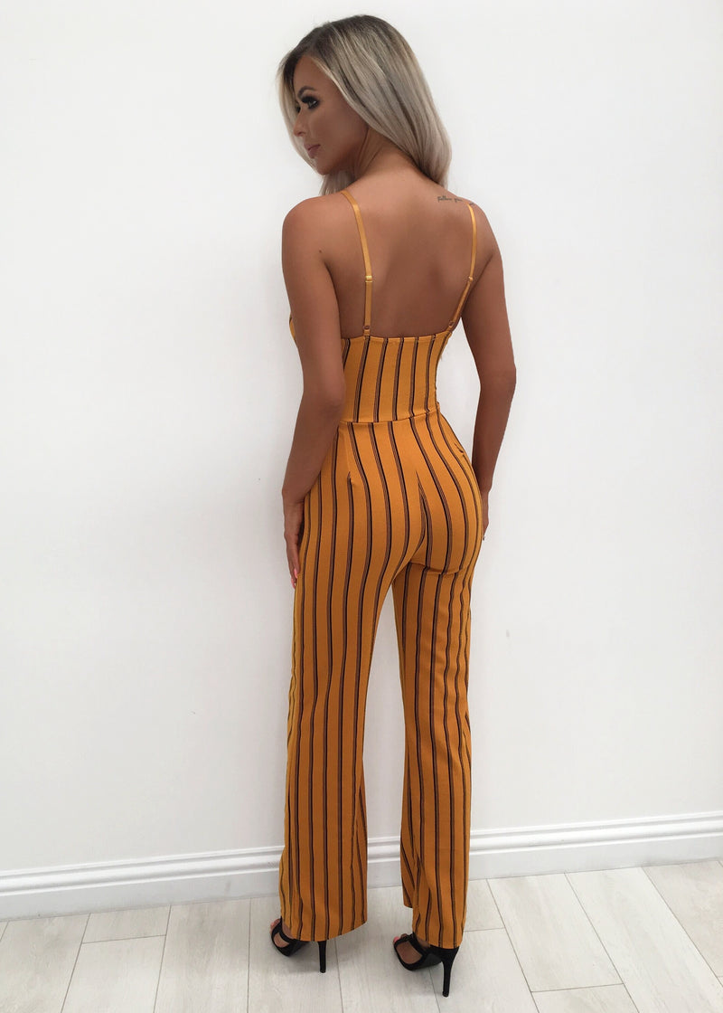 Campbell Stripped Jumpsuit - Mustard & Black 12