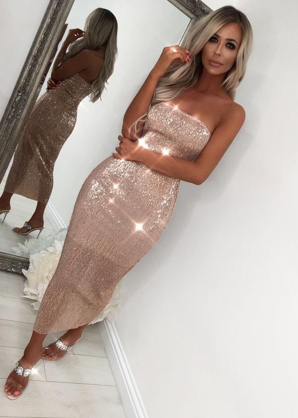'Hollywood Glam' Bodycon Dress - Rose Gold S