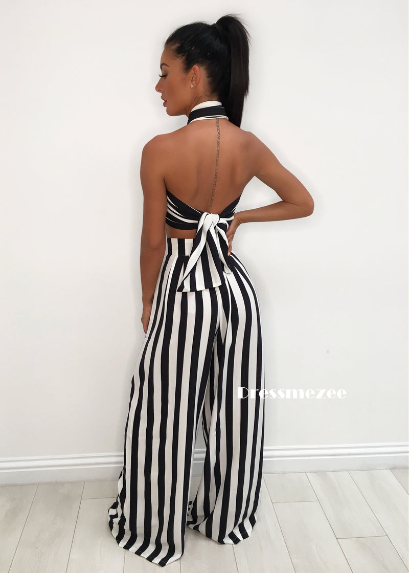 'Turn Up The Heat' Satin Two Piece - Striped