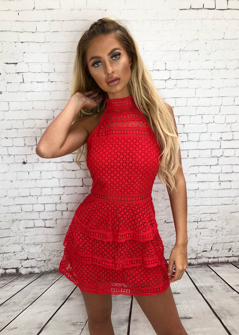 'No Goodbyes' Lace Panel Tiered Bodycon Dress - Red