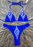 'Jamaica' Jewelled Bikini Set - Cobalt Blue