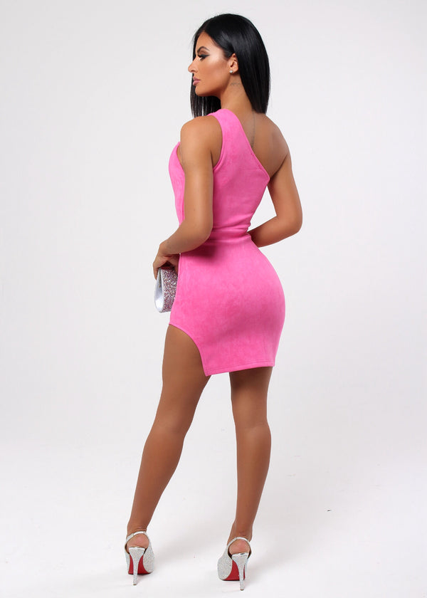Flamingo Flirt Suede Dress - Barbie Pink