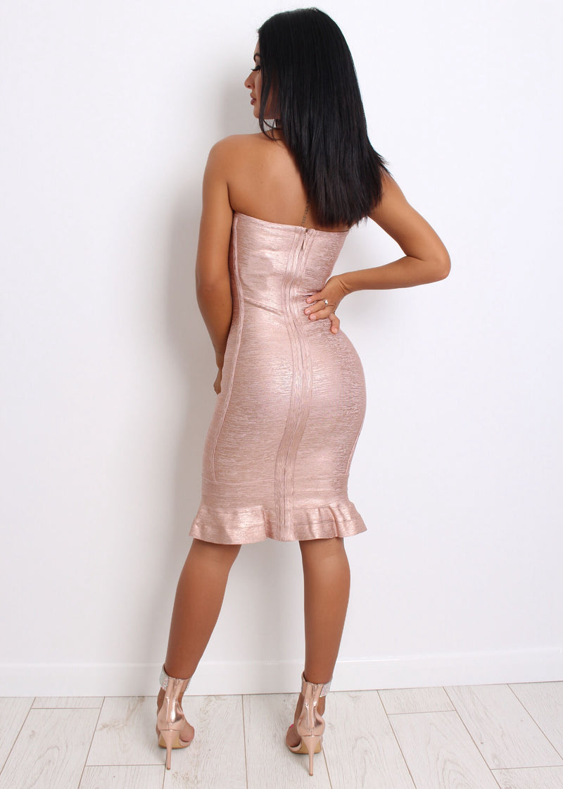 'Ruffle Like This' Bandage dress with Fluted Hem - Rose Gold