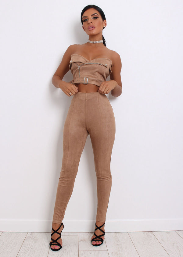 'All About You' Suede Two Piece - Tan L