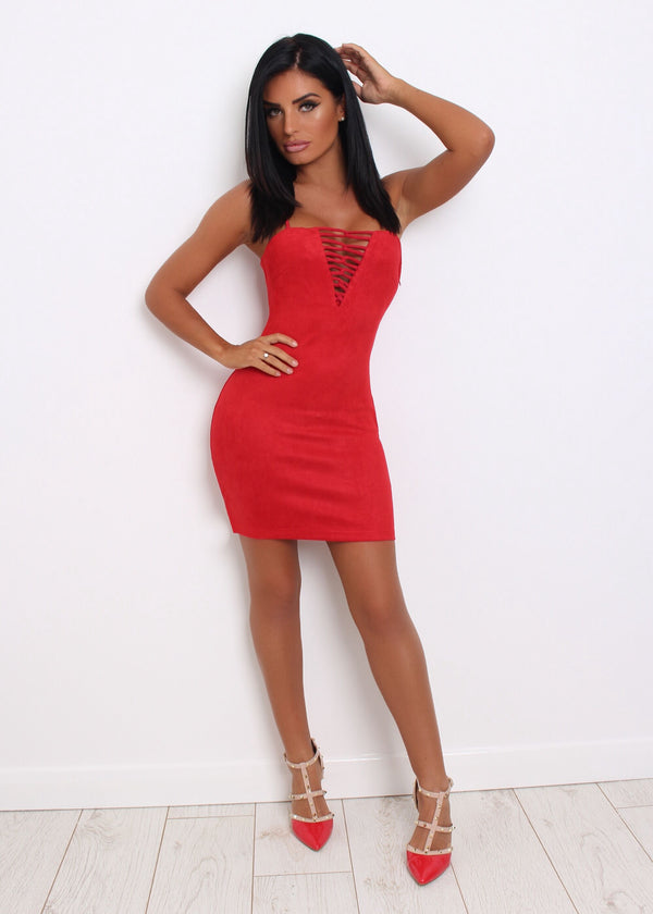 Pretty Little Lines Suede Bodycon - Red