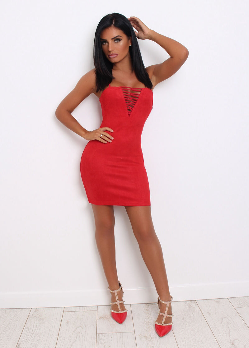 Pretty Little Lines Suede Bodycon - Red 12 14