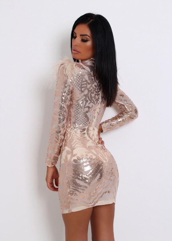 Show Stopper Sequin Mesh Dress with Feather - Rose Gold