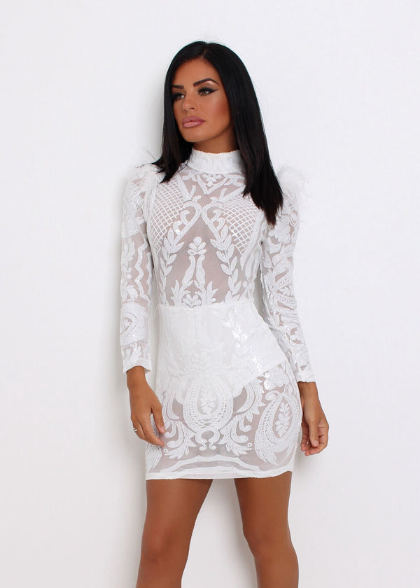 Show Stopper Sequin Mesh Dress with Feather - White