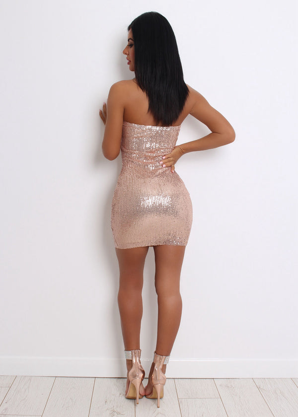 Out in Town Sequin Dress - Rose Gold