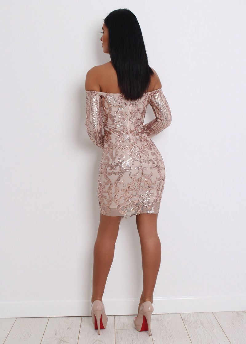 'Have A Ball' Sequin Dress - Rose Gold